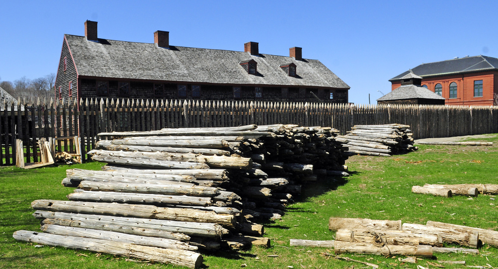 These palisade posts, seen in a photo taken on Wednesday at Old Fort Western in Augusta, are for sale.