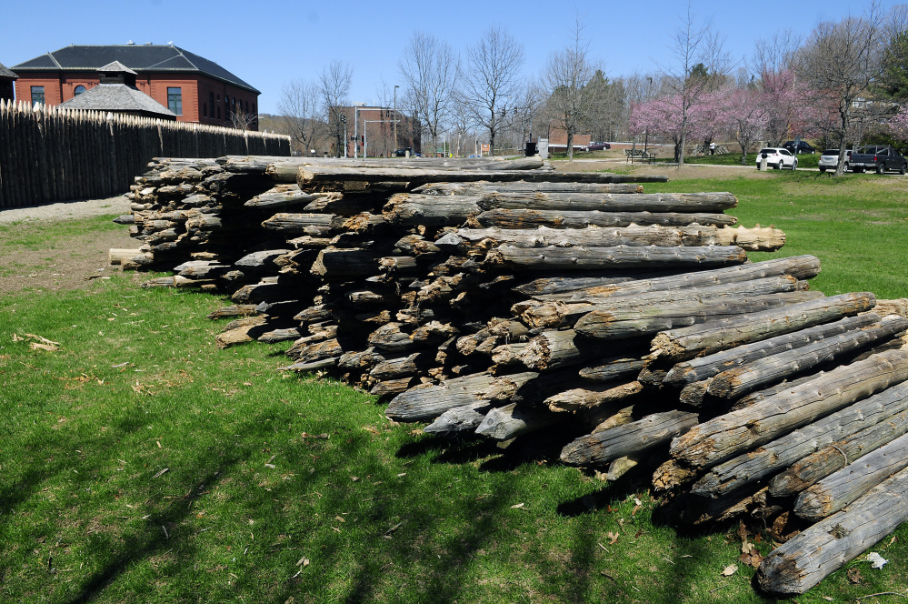 These palisade posts, shown in a Wednesday photo, will be for sale from 9 a.m. to 2 p.m. Saturday, May 7, at Old Fort Western in Augusta.