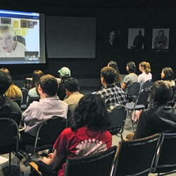 Nobel Peace Prize winner Betty Williams speaks over Skype from Northern Ireland to the 2016 Maine PeaceJam Youth Leadership Slam on Saturday at the Klahr Holocaust and Human Rights Center in Augusta.