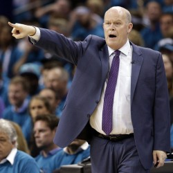 Charlotte Hornets head coach Steve Clifford, a 1983 University of Maine at Farmington graduate, directs his team against the Miami Heat during the first half in Game 6 of a first-round series Friday in Charlotte, North Carolina.