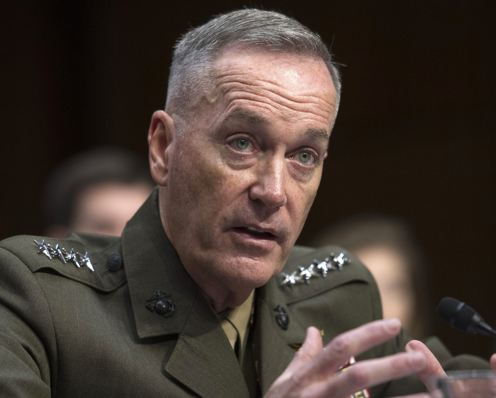 Then-Marine Gen. Joseph Dunford testifies on Capitol Hill in this Sept. 18, 2015., photo. Dunford was confirmed as Joint Chiefs chairman on Sept. 20, 2015, and officially took office on Oct. 1.