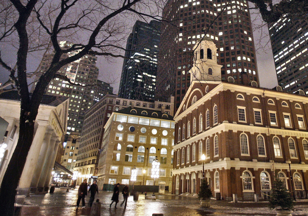 Faneuil Hall, right, one of the sites on Boston's Freedom Trail, is among the buildings under threat from rising sea levels.