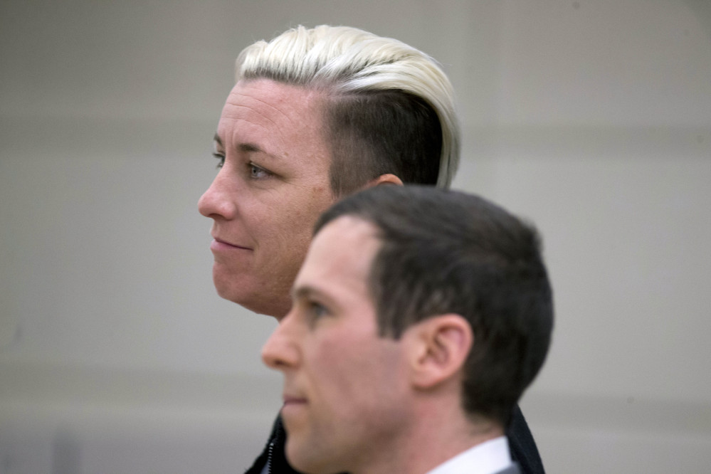 Retired soccer star Abby Wambach pleads guilty to driving under the influence of intoxicants at the Justice Center in Portland, Ore., on Tuesday.