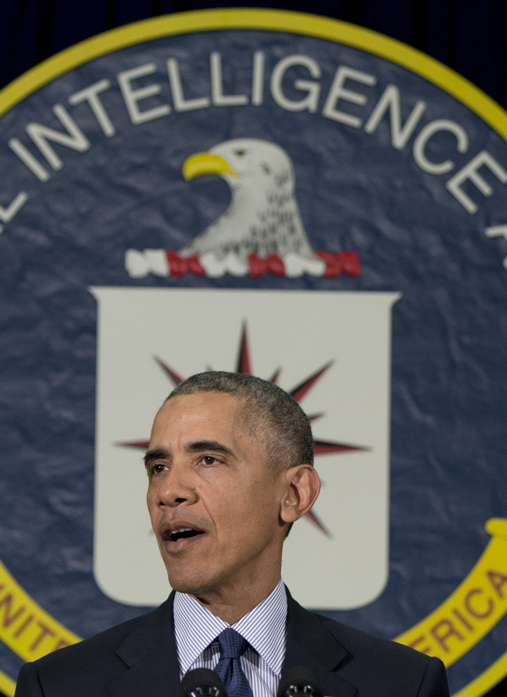 President Obama, at CIA Headquarters in Langley, Va., on Wednesday, said extremists are on the defensive.