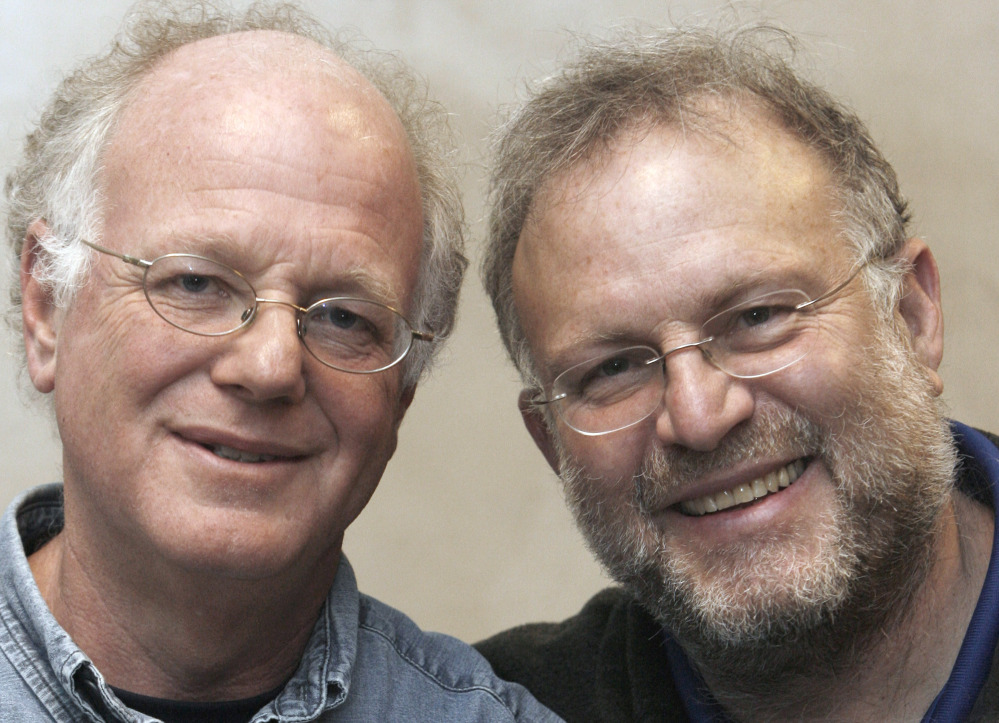 Vermont ice cream entrepreneurs Ben Cohen, left, and Jerry Greenfield pose in 2010 for photos in Burlington, Vt. The co-founders of Ben & Jerry's were arrested Monday at the U.S. Capitol as part of ongoing protests in Washington about the role of money in politics.