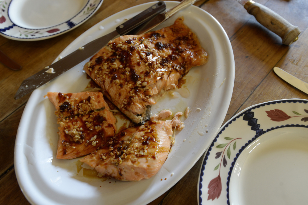 TEMPLE, ME - APRIL 15: Salmon with Temple Tappers birch syrup Friday, April 15, 2016. (Photo by Shawn Patrick Ouellette/Staff Photographer)