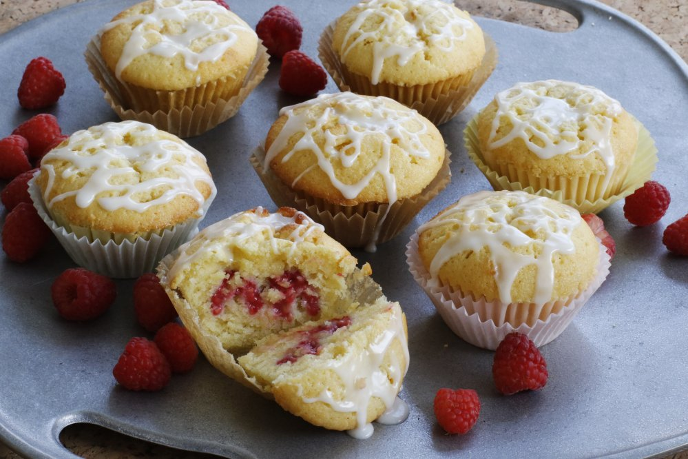These rich lemon raspberry muffins are well-suited to dessert, but also would be fine for an indulgent breakfast.   The Associated Press