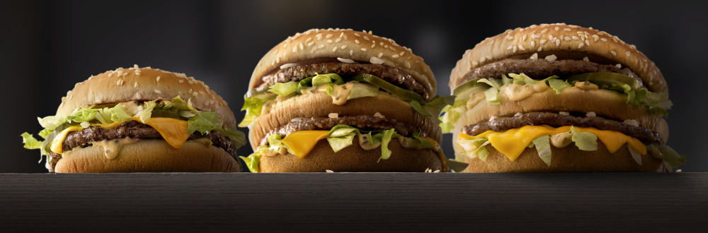 The traditional Big Mac, center, as compared to Mac Jr., left, and Grand Mac – alternative versions of McDonald's trademark sandwich being tested in Ohio and Texas markets.