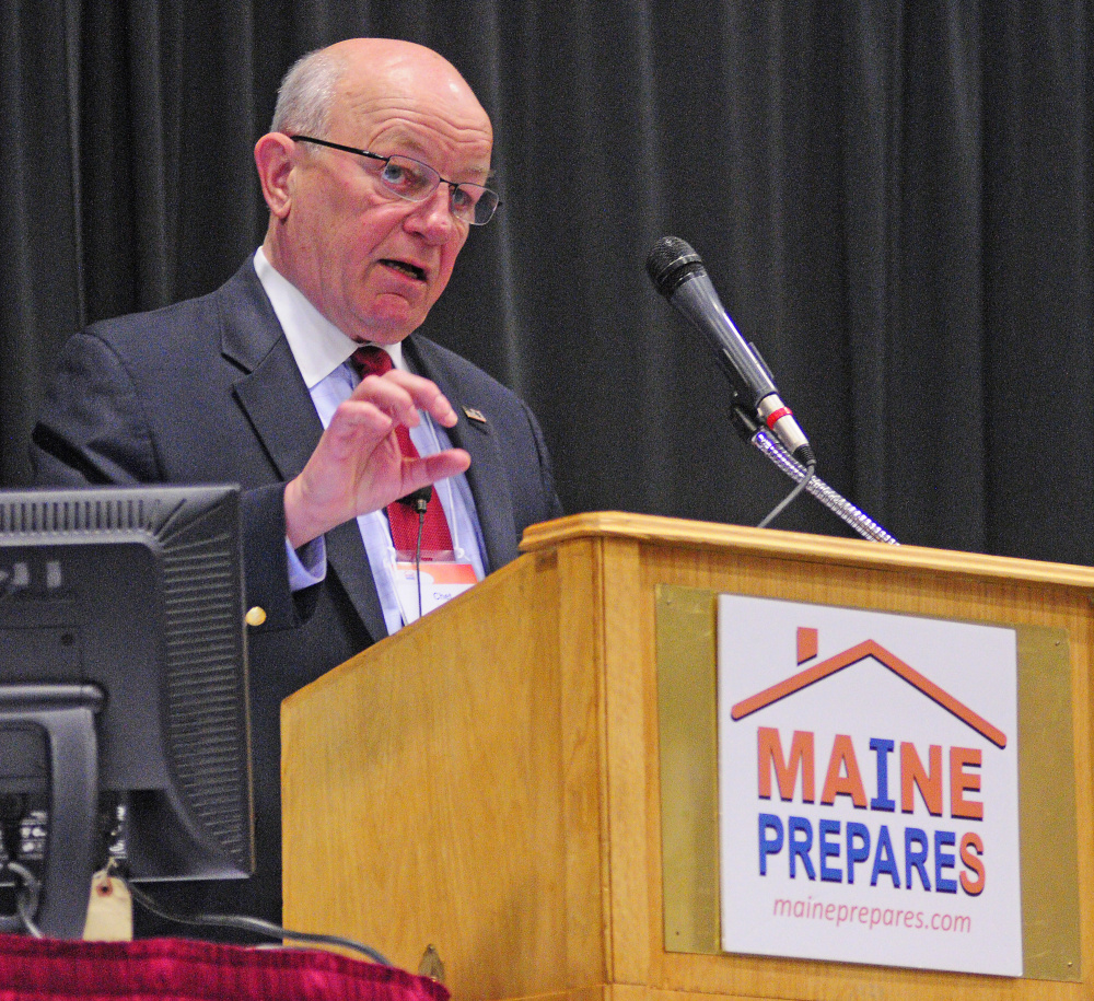 Chet Lunner, former deputy under secretary of intelligence for Department of Homeland Security, at the Maine Partners in Emergency Preparedness Conference on Tuesday.
