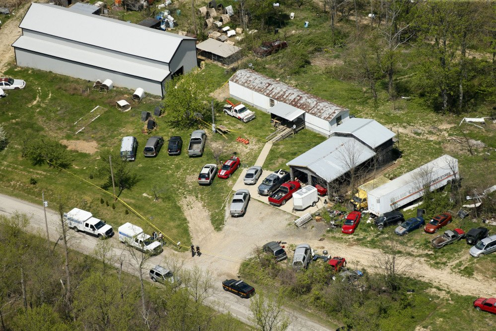 This aerial photo shows one of the locations in a homicide investigation in Pike County, Ohio. Eight relatives were killed at four properties in the area.