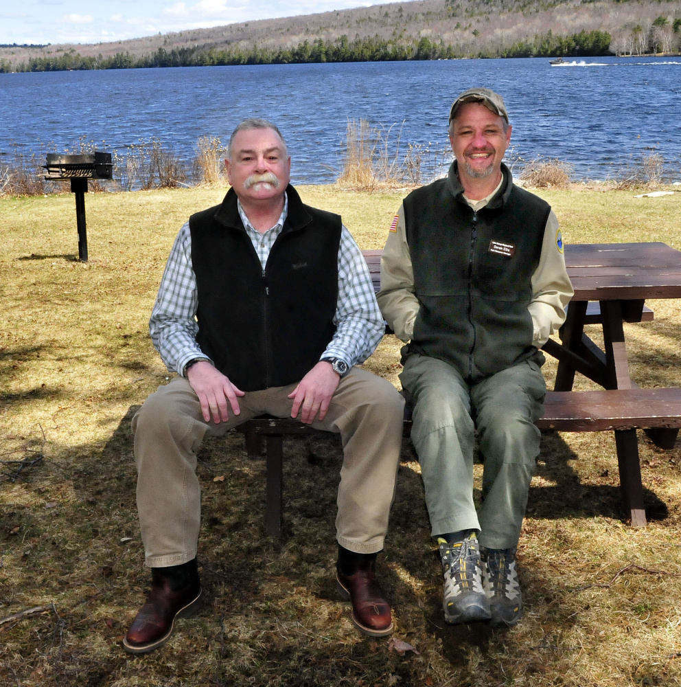 Bob McGorty, left, is the new director of Lake George Regional Park in Skowhegan. Derek Ellis is the park resource manager.