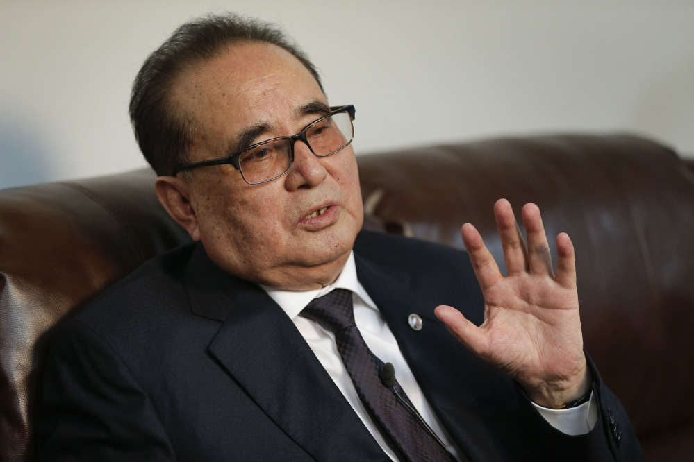 North Korea's Foreign Minister Ri Su Yong answers questions during an interview in New York.