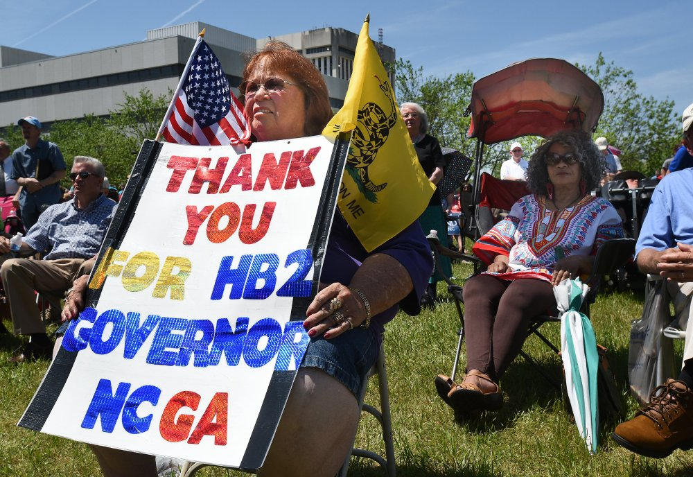 Lee Churchill of Raleigh, shows her support of  House Bill 2 in Raleigh on Monday.