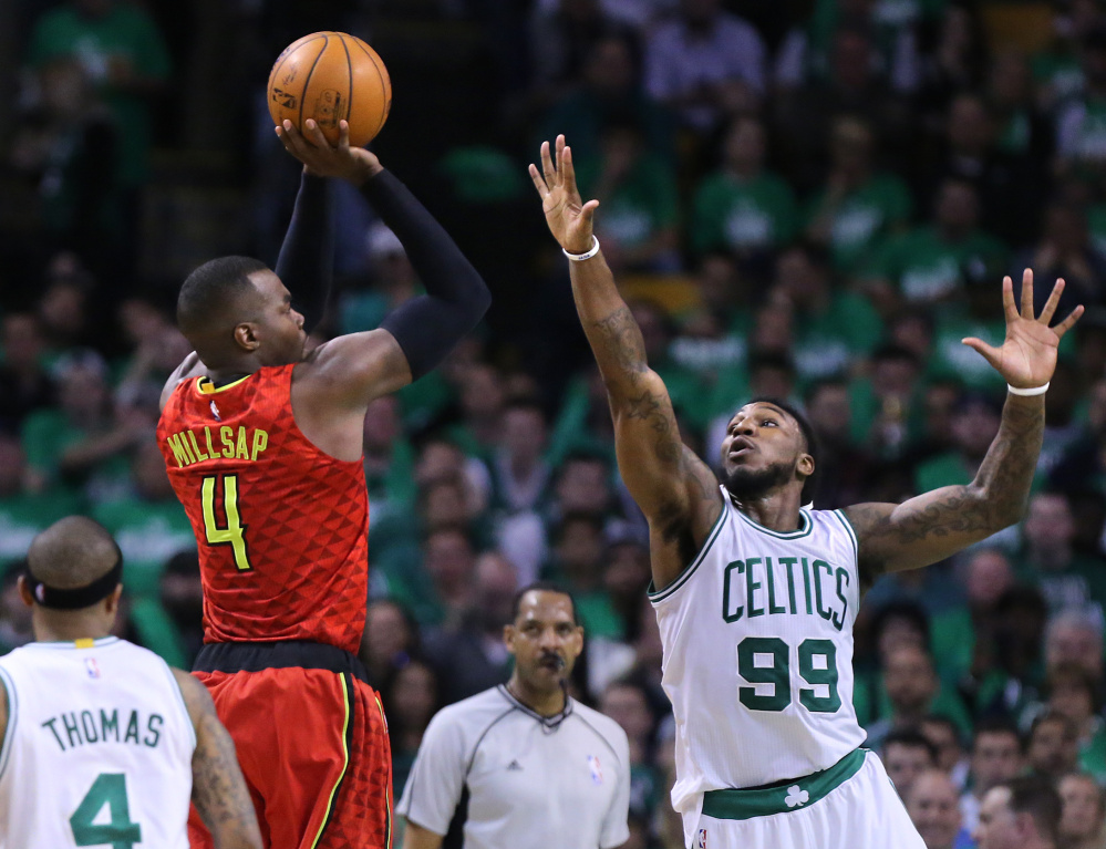 Atlanta's Paul Millsap had 45 points in a Game 4 loss to the Celtics on Sunday. The series now heads back to Atlanta with each team winning their two home games thus far.