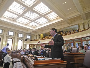 House Republican leader speaks during the debate encouraging members to vote to sustain Gov. Paul LePage's veto on  L.D. 1649 , a bill to modernize state policies on solar power, during on Friday April 29, 2016 at the State House in Augusta. House failed twice to override the veto. (Photo by Joe Phelan/Staff Photographer)