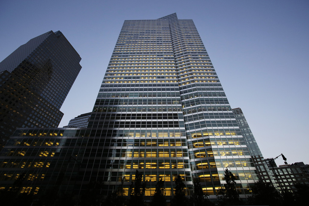 Goldman Sachs headquarters, center, is shown, Thursday, Oct. 15, 2015 in New York. The Associated Press
