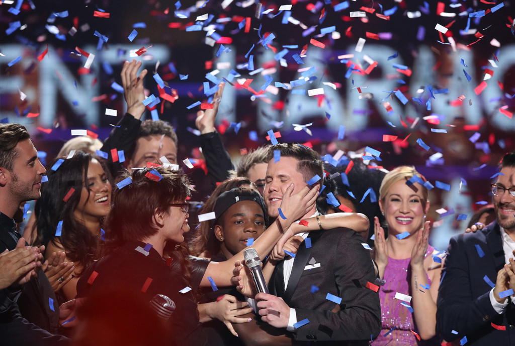 "Trent Harmon, center, winner of ""American Idol"" The Farewell Season celebrates with fellow contestants during the season finale at the Dolby Theatre on Thursday in Los Angeles. The Associated Press"
