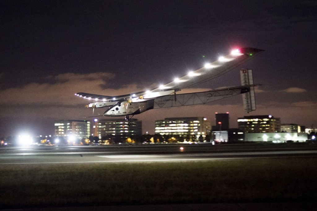 Solar Impulse 2 lands at Moffett Field in Mountain View, Calif., on Saturday. The plane completed a risky, three-day flight across the Pacific Ocean as part of its journey around the world. The Associated Press