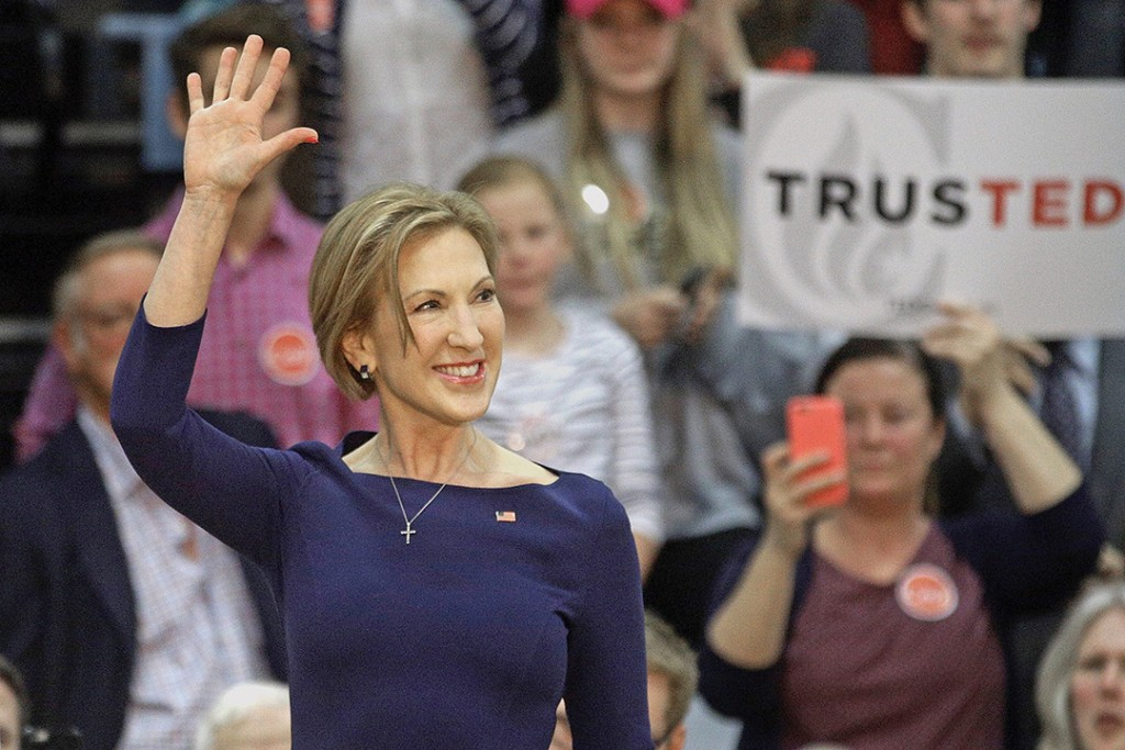 Carly Fiorina talks to supporters before Republican presidential candidate Ted Cruz speaks at a campaign rally in Ballwin, Mo. , on March 12. The Associated Press