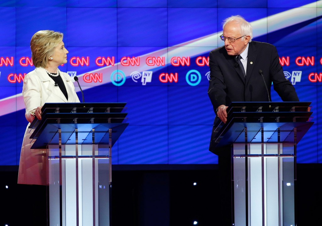 Bernie Sanders and Hillary Clinton face off during the CNN Democratic debate Thursday night at the Brooklyn Navy Yard. The debate showed the apparent animosity between the candidates.