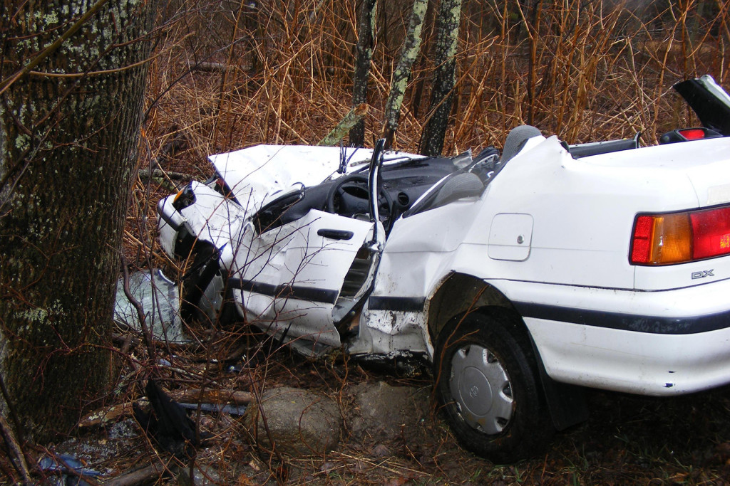 Two teenagers were injured, one critically, when this 1991 Toyota Corolla went airborne after hitting a tree Tuesday on Finntown Road in Warren.