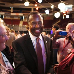 Former Republican presidential candidate Dr. Ben Carson speaks with Maine delegates at the state Republican convention Friday, where he spoke at the gathering.