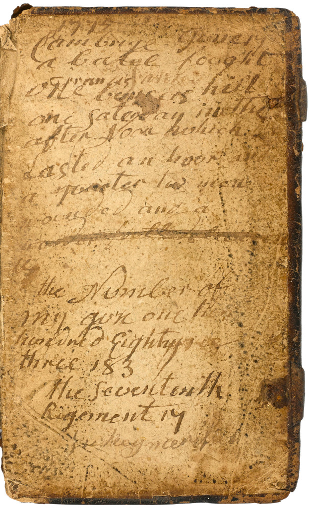 This inscribed pocket Bible carried by a Massachusetts soldier during the Battle of Bunker Hill on June 17, 1775 will be auctioned next week in New York.  A  rare newspaper printing of a journal kept by a young George Washington and the bible are among hundreds of historic documents being sold at a New York City auction.