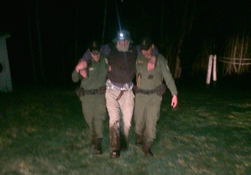 Gene Wilbur was rescued from a bog near his home in Parkman by Maine game wardens late Thursday night.