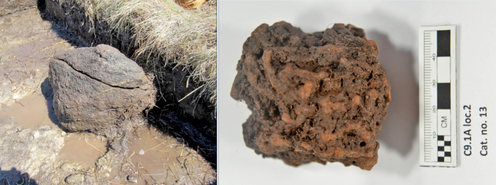 Left: The fire-scorched face of a boulder at the probable iron ore roasting site. Right: One of the larger lumps of roasted bog iron ore excavated from the site. Photo by Greg Mumford via The Washington Post