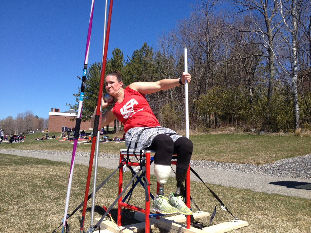 Christy Gardner prepares to throw the shot Saturday at Maine Central Institute in Pittsfield.
