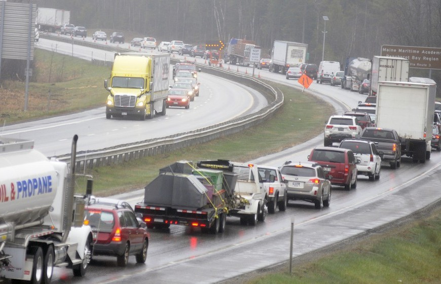 Both northbound lanes of the Maine Turnpike re-opened at 11:15 a.m. on Monday in Farmingdale following a tractor-trailer accident that delayed traffic for 10 hours.