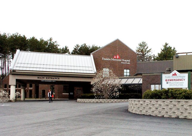 The main and emergency entrances to Franklin Memorial Hospital in Farmington are seen Tuesday. Sen. Tom Saviello, R-Wilton, says the state's failure to expand Medicaid coverage probably has hurt the hospital through reimbursements, a contributing factor to 22 layoffs announced last week.