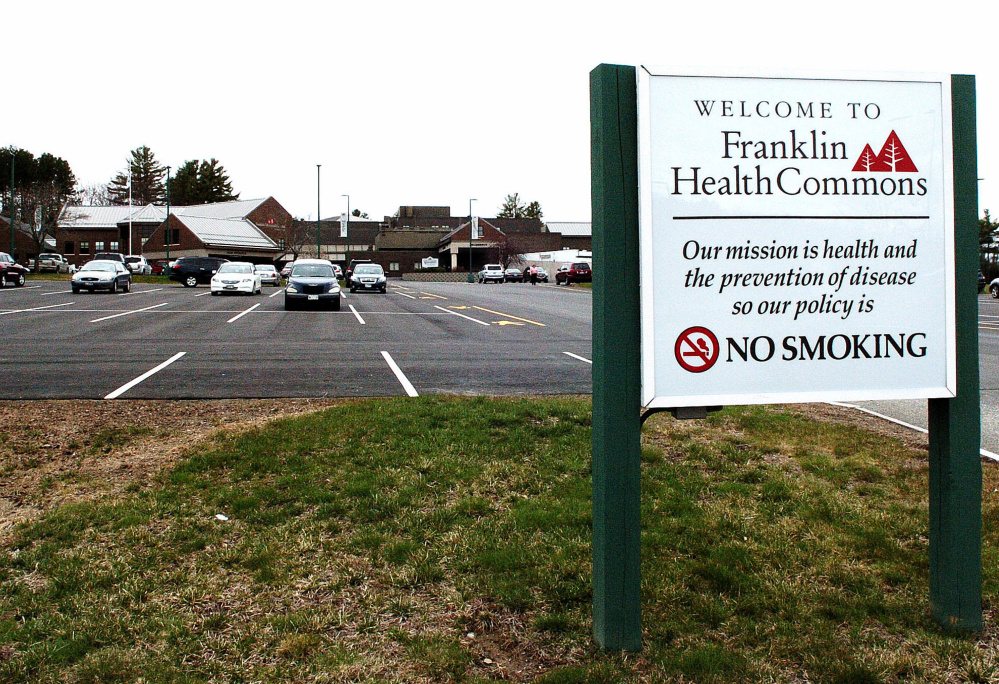 The entrance to Franklin Memorial Hospital and Franklin Health Commons in Farmington are seen Tuesday. Sen. Tom Saviello, R-Wilton, says the state's failure to expand Medicaid coverage might have hurt the hospital by causing federal reimbursements to decline, and that it probably was a factor contributing to 22 layoffs announced last week.