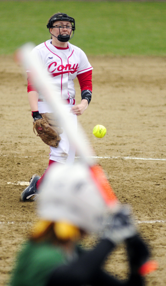 Cony pitcher Skyler Watson throws a pitch during a Kennebec Valley Athletic Conference Class A game Wednesday against Oxford Hills at Cony Family Field in Augusta.