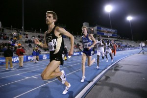 Purdue senior Matt McClintock, left, leads Drake's Reed Fischer during the men's 5,000-meter run at the Drake Relays athletics meet on April 28 in Des Moines, Iowa.