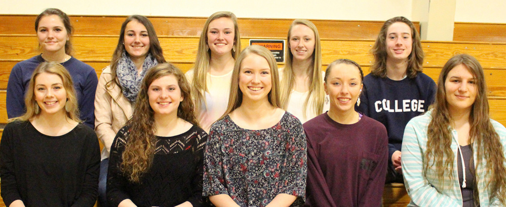 Erskine Academy in South China has announced its class of 2016 top 10 seniors. Front, from left, are Lilja Bernheim, Sarah Pleau, Kayla Goggin, Mackenzie Gayer and Caleigh Charlebois. Back, from left, are Amelia Bailey, Christina Hodgkins, Emma McCormac, Jordan Bowie  and Kyle Zembroski.