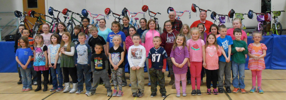 The Sebasticook Masonic Lodge 146 of Clinton recently ran its Bikes for Books program in coordination with Clinton Elementary School. The winners, in front, from left, are Mackenzie McLaughlin, Jazlyn Wyman, Natily Reid, Emma Spaulding, Logan Levesque, Kobey Almedia, Alexa Rice, Alek Shea, Trent Wishart, Jocelyn Clark, Abby Stewart, Sarah Leary, Troy Hamlin, Jaigen Hapworth and Hailey Davis. Second row, from left, are Baylee Duda, Ryan Bowley, Alexis Levesque, Alivia Chalmers, Kayden Delile, Chelsea Saucier, Cameron Stewart, Riley Thomas, Lilly Buck, Camryn Cloutier, Cassandra Paul, Avah Witham, Taylor Levesque, Hannah Dostie and Alyssa Carter. Third row, from left, are Jazmine Hunter, Taylor Jordan, Mary Spaulding, Emily Hagerty, and Masons Dan Pratt and Kevin Braley.