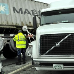 Trailer tires were left off the pavement after a tractor-trailer jackknifed on Interstate 95 in Waterville on Thursday.