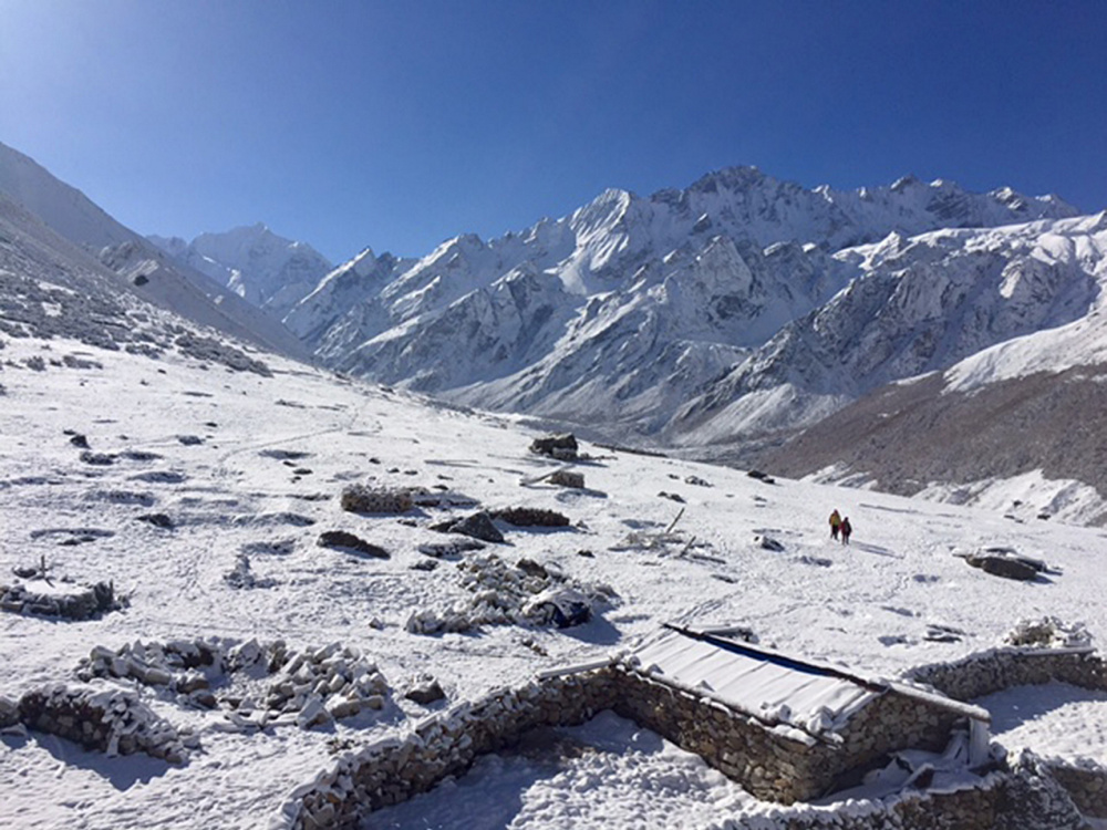 The Langtang valley village of Kyanjin Gompa is covered with a fresh blanket of snow last month during a visit by Khaled Habash and his sister Jasmine Habash.