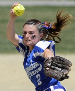 Messalonskee's Kirsten Pelletier is averaging just under 11 strikeouts per game for the 6-0 Eagles.