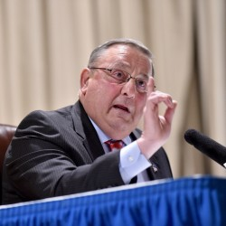 Gov. Paul LePage speaks at a town hall-style meeting in Madison in March. His next one will be Tuesday in Oakland.