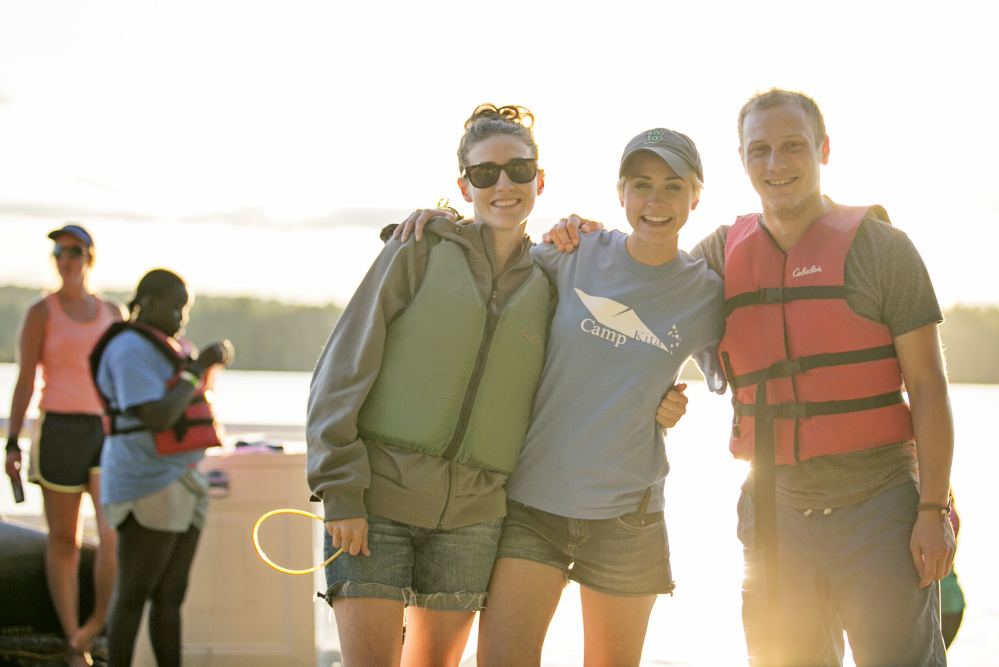 Siblings, from left, Sydney Mosher Menard, Morgan Mosher and Isaiah Mosher at Camp Kita, a camp they founded for children who have a loved one who committed suicide.