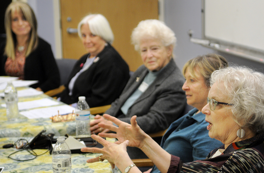 Helen Stevens responds to a question about women's rights during a panel discussion on Monday at Gardiner Area High School. The panel was composed, from right, of Stevens, Karen Tucker, Julia Walkling, Gilda Nardone and moderator RayeAnne DeSoto.