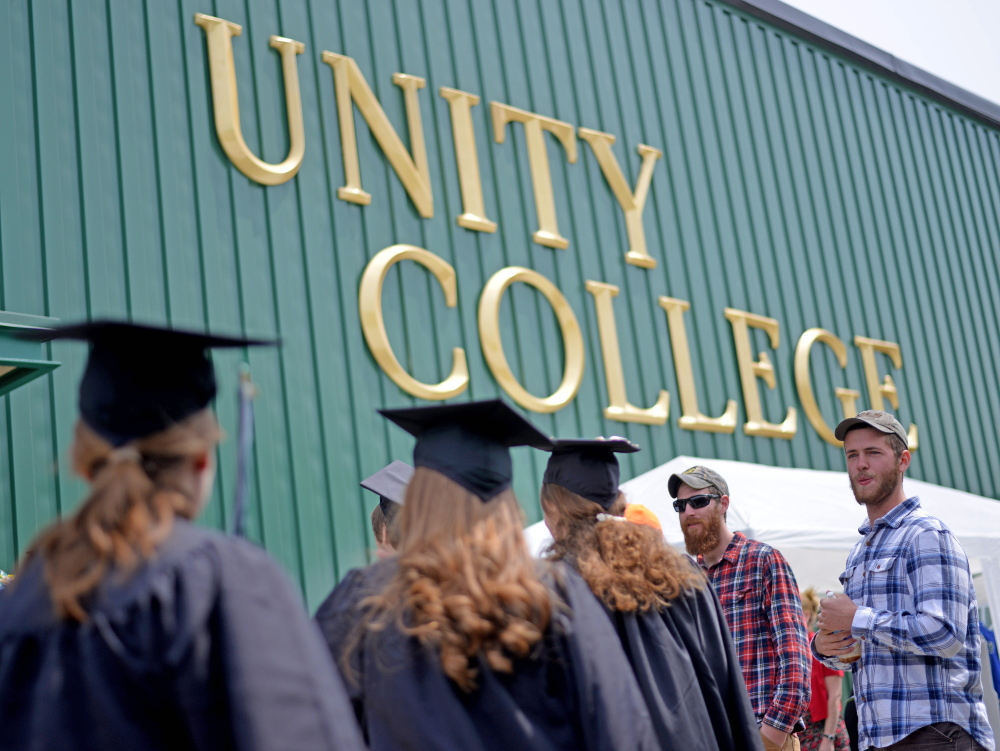 The Unity College class of 2015 marches into the gymnasium last year. This year's commencement ceremony is scheduled for Saturday, when 128 students will receive diplomas.