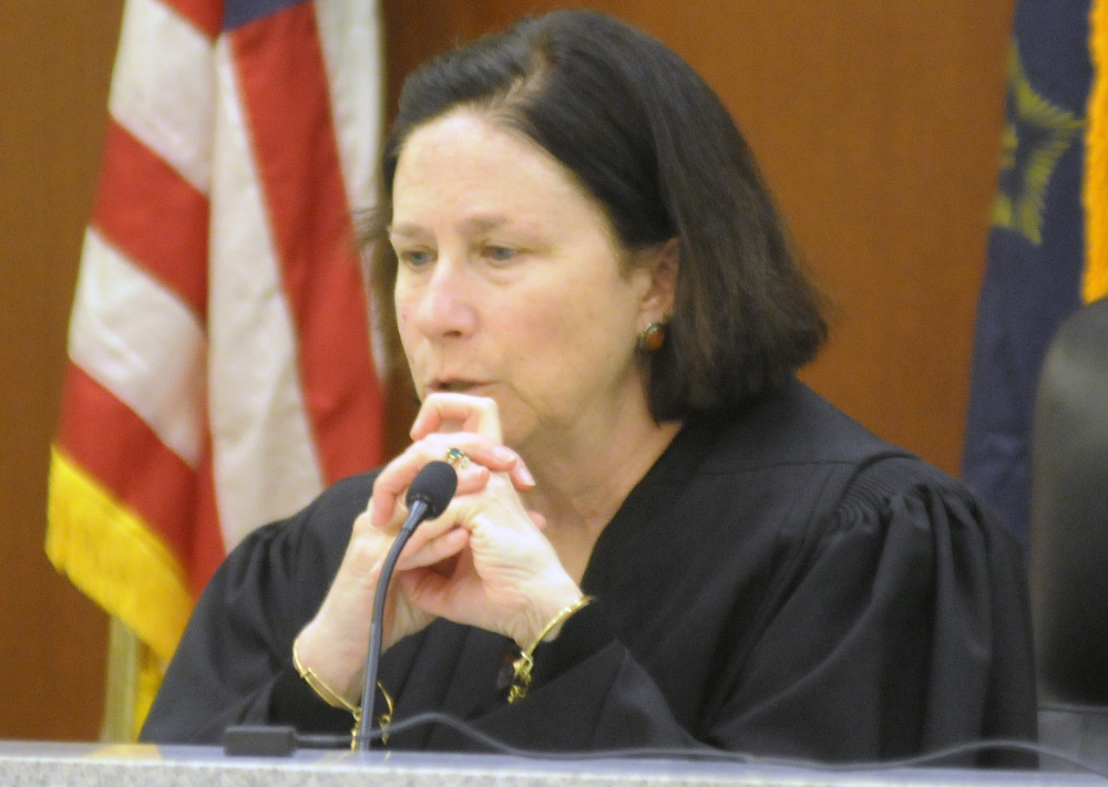 Justice Michaela Murphy denied Justin Pillsbury's motions for a new trial Tuesday during a hearing in Augusta. Pillsbury was convicted of murder for the stabbing death of Jillian Jones on Nov. 13, 2013, in Augusta.