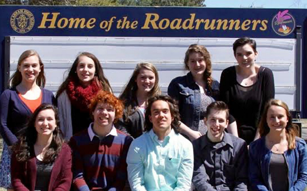 Mt. Abram High School in Salem Township has announced its top 11 academic seniors for the class of 2016. Front, from left, are Bailey DeBiase, Mario Gerardi, Courtland Talmage, Riley McLaughlin and Sarah Stanley. In back, from left, are Bailey Beers, Jerusha Caldwell, Makayla Martin, Brook James and Mallory Toothaker. Eliza Sitz is missing from the photo.