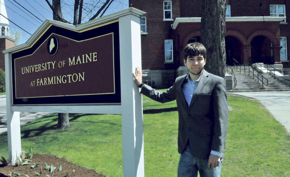 University of Maine at Farmington student Travis Bent, of Norridgewock, on campus Wednesday, plans to teach English in Spain starting in September after receiving a Fulbright Fellowship.