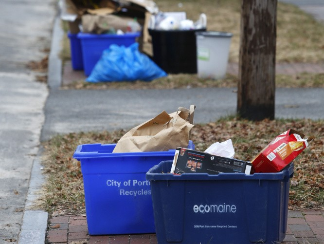 The Augusta City Council on Thursday declined to consider a proposal to establish a curbside recycling collection system similar to what is provided in Portland, shown here in a recent photo.