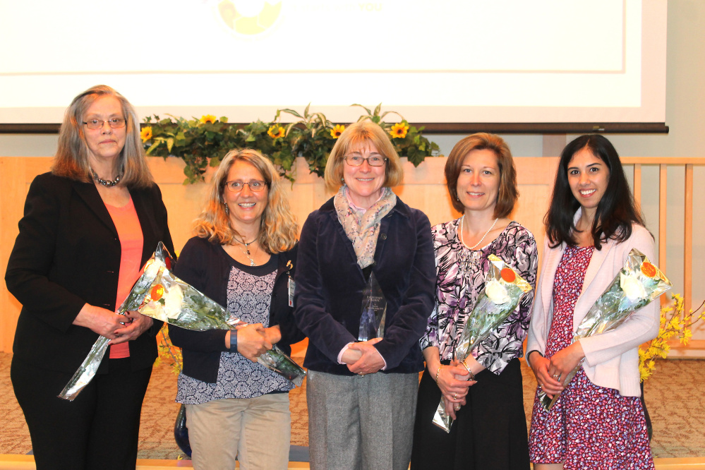 Franklin Memorial Hospital Excellence in Nursing award nominees included, from left, Valerie Farrington, ICU; Mary Cyr, wound care; award winner Annette Tripp, maternal and child health; April Smith, medical/surgical unit; and Tammy White, day surgery. Tripp was presented with her award May 5.