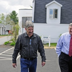 Facility director Peter St. Michel, left, and President James Conneely, tour buildings on Thursday at the University of Maine at Augusta.